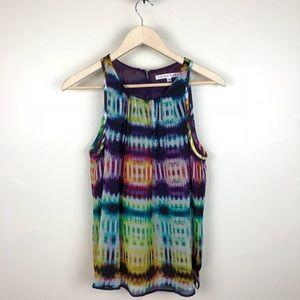Trina Turk Silk Tie Dye Blouse Top Size Medium